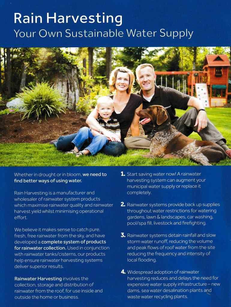 Rainwater Harvesting brochure page 1